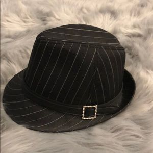 Accessories - Black Pinstriped Fedora with Rhinestone Buckle